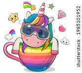 cute cartoon unicorn with...   Shutterstock .eps vector #1985101952