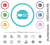 single cheeseburger flat color... | Shutterstock .eps vector #1985144198