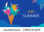 summer scene with ice cream... | Shutterstock .eps vector #1985151005