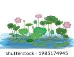 isolated lotus flower in pond... | Shutterstock .eps vector #1985174945