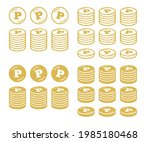 icon set of coins with point... | Shutterstock .eps vector #1985180468