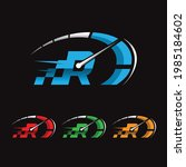 r letter logo. speedometer... | Shutterstock .eps vector #1985184602