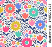 colorful cute hand drawn floral ...   Shutterstock .eps vector #1985272625