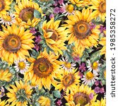 Watercolor Sunflowers Summer...
