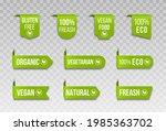 vegan icon set logos and badges ... | Shutterstock .eps vector #1985363702