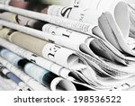 pile of old newspapers ... | Shutterstock . vector #198536522