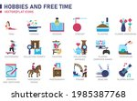 hobbies and free time icon set... | Shutterstock .eps vector #1985387768