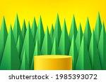 yellow platform podium. green... | Shutterstock .eps vector #1985393072