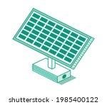 isometric green solar battery... | Shutterstock .eps vector #1985400122
