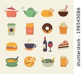 collection of food icons in... | Shutterstock .eps vector #198543086