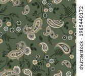 vector  flower and paisley... | Shutterstock .eps vector #1985440172