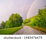 Double Rainbow Near A Road....