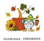 pumpkin  sunflower  autumn... | Shutterstock .eps vector #1985483945