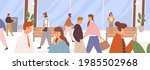 different people walking along... | Shutterstock .eps vector #1985502968