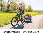 A Woman Riding A Bicycle With A ...