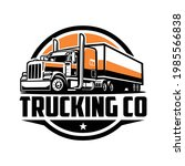 semi truck with trailer circle...   Shutterstock .eps vector #1985566838