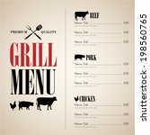 vintage barbecue menu | Shutterstock .eps vector #198560765