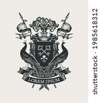 vector black and white coat of... | Shutterstock .eps vector #1985618312