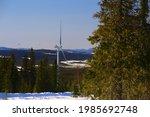 wind park in snow in northern... | Shutterstock . vector #1985692748
