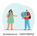 man holding globe and woman... | Shutterstock .eps vector #1985708942