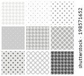 Seamless vector black, white and grey pattern or background set with big and small polka dots and houndstooth tartan. - stock vector