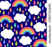 colorful hand drawn rain ...   Shutterstock .eps vector #1985733698