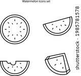 watermelon icons set isolated...