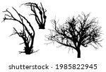 set of dead trees silhouette on ... | Shutterstock .eps vector #1985822945