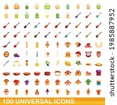 100 universal icons set.... | Shutterstock .eps vector #1985887952
