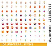 100 universal icons set.... | Shutterstock .eps vector #1985887955