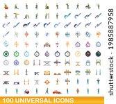 100 universal icons set.... | Shutterstock .eps vector #1985887958