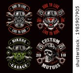 a set of biker themed vector... | Shutterstock .eps vector #1985907905