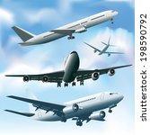 jet planes in a sky. vector... | Shutterstock .eps vector #198590792