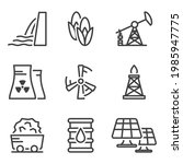 set of linear icons with energy ... | Shutterstock . vector #1985947775