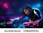 beautiful disc jockey playing... | Shutterstock . vector #198600932