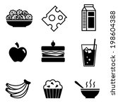 healthy lunch foods vector icons | Shutterstock .eps vector #198604388