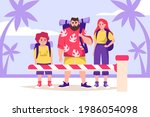 tourists and lockdown. family... | Shutterstock .eps vector #1986054098