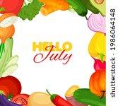vegetable frame. summer banner...   Shutterstock .eps vector #1986064148