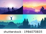 man watches nature  climbing to ... | Shutterstock .eps vector #1986070835