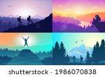 man watches nature  climbing to ... | Shutterstock . vector #1986070838