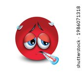 cute sick emoticon with... | Shutterstock .eps vector #1986071318