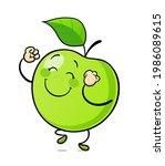 dancing green apple. delicious  ...   Shutterstock .eps vector #1986089615