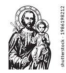 saint joseph and child jesus... | Shutterstock .eps vector #1986198212