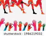 running people  marathon race...   Shutterstock .eps vector #1986219032