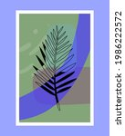 linear tropical palm leaf on... | Shutterstock .eps vector #1986222572