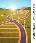 meadow with road in genetic dna ... | Shutterstock .eps vector #1986255548