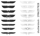 vector monochrome icon set with ... | Shutterstock .eps vector #1986257828
