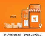 parcel boxes  shopping carts ... | Shutterstock .eps vector #1986289082