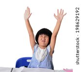 cute asian girl raise her hands ... | Shutterstock . vector #198629192