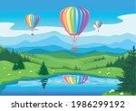 aerostat flies over the... | Shutterstock .eps vector #1986299192